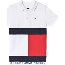 Tommy Hilfiger White Large Flag Colour Block Pique Polo 4 years