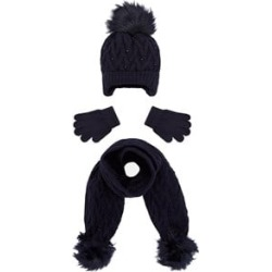 Mayoral Navy Cable Knit Beanie, Glove and Scarf Set 12 years