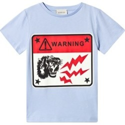 Gucci Gucci Pale Blue Warning Gucci Print T-Shirt 4 years found on MODAPINS from Alex and Alexa for USD $126.63