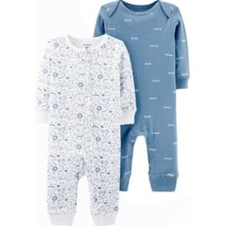 Carter's Carter's Blue and White Animal Print Pack of 2 One-Pieces 3 Months