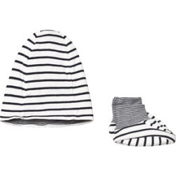 Petit Bateau Navy and Cream Striped Hat and Booties Set 12 Months