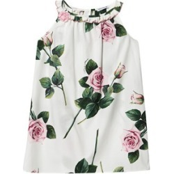 Dolce & Gabbana Dolce & Gabbana White Rose Print Sleeveless Cotton Dress 3 years