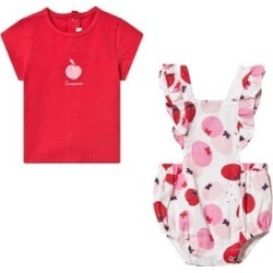 Catimini White Red and Pink Romper And T-Shirt Set 9 months