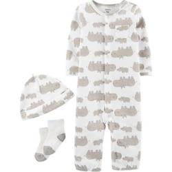 Carter's Brown Hippo Onesie, Hat and Sock Set 9 Months