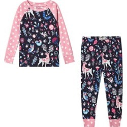 Hatley Navy and Pink Nordic Forest Organic Pyjama Set 5 years