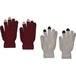 Molo Pack of 2 Cabernet and Grey Kyra Gloves One Size (8-16 y)