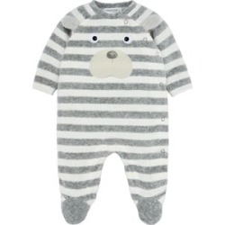 Mayoral Mayoral Grey and Cream Velour Stripe Bear One-Piece 0-1 months