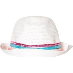 Pate de Sable White Straw Hat with Gold and Blue Trim 55cm