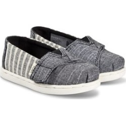 Toms Toms Grey and White Striped Alpargata Slip On Strap Trainers 22 (UK 5)