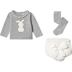 Mayoral Mayoral Grey and Cream Bunny Bloomers and Jumper with Tights Set 0-1 months