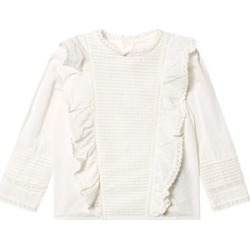 Bonpoint Bonpoint White Broderie Anglaise and Pin Tuck Detail Blouse 10 years