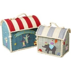 RICE A/S RICE A/S Set of 2 Raffia Kids Bag with Circus Embroidery One Size