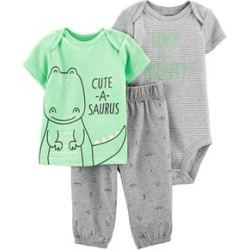 Carter's Green and Grey Dinosaur Outfit Set 9 Months