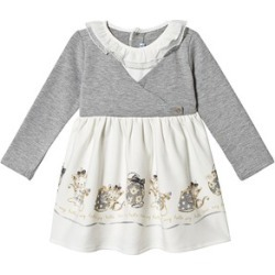 Mayoral Mayoral Grey and Cream Mock Bolero Dress with Cat Print Hem 12 months