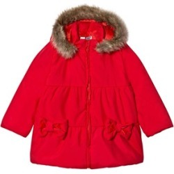Dr Kid Red Faux Fur Hooded Puffer Coat 6 months
