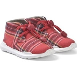 AKID Red Plaid Print Trainers US 6 (UK 5, EU 22)