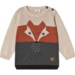 Hust & Claire Grey and Cream Colour Block Fox Sweater 74 cm (6-9 Months)