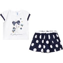 Mayoral White Eiffel Tower Print Top & Navy Big Polka Dot Skirt Set 9 months