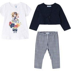 Mayoral Navy and White Flower Girl T-Shirt, Leggings and Cardigan Set 9 months