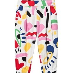 Stella McCartney Kids White Retro Paint Print Cotton Trousers 5 years