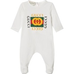 Gucci Gucci White Retro Gucci Print Babygrow 9-12 months found on MODAPINS from Alex and Alexa for USD $195.13