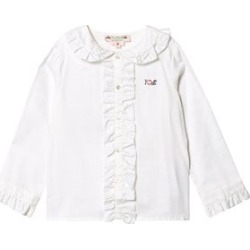Bonpoint White I Heart Cherry Ruffle Detail Button Up Blouse 12 years