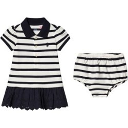 Ralph Lauren Navy and Cream Polo Dress with Small Logo 12 months