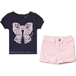 Guess Navy Bow T-Shirt and Pink Short Set 6-9 months