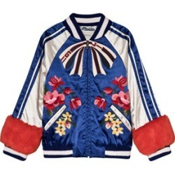 Gucci Blue and White Embroidered Floral and Applique Satin and Faux Fur Bomber Jacket 8 years found on Bargain Bro India from Alex and Alexa for $1106.82