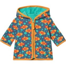 Frugi Frugi Blue Fish Print Reversible Fleece and Jersey Jacket 18-24 months