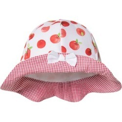 Dr Kid Dr Kid Red Apple and Gingham Bow Sun Hat 0-3 months