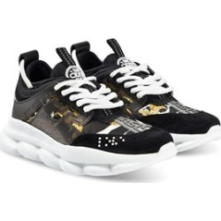Versace Versace Black and Gold Broque Print Chain Reaction Trainers 38 (UK 5)