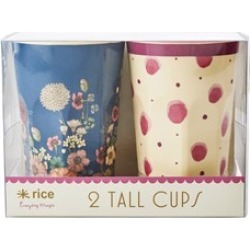 RICE A/S Set of 2 Melamine Cups with Floral and Water Splash Design One Size