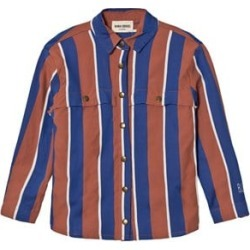 Bobo Choses Rust and Blue Awning Stripes Overshirt 2-3 Years