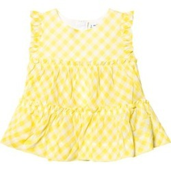 Mayoral Mayoral Yellow Gingham Ruffle Tiered Blouse 9 years