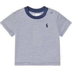 Ralph Lauren Navy and White Sailor Stripe Tee with Small Polo Player 18 months