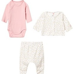 Petit Bateau Petit Bateau Pink and Printed Trouser, Cardigan and Body Set 12 Months