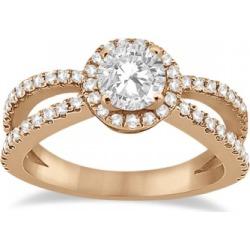 Diamond Halo Split Shank Engagement Ring 18k Rose Gold (0.46ct) found on Bargain Bro Philippines from Allurez for $1723.00