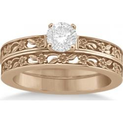 Flower Carved Solitaire Engagement Ring & Wedding Band 18kt Rose Gold