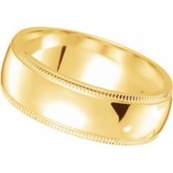 Men's Wedding Ring Dome Comfort-Fit Milgrain 18k Yellow Gold (5 mm) found on MODAPINS from Allurez for USD $680.00