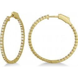 Medium Thin Round Diamond Hoop Earrings 14k Yellow Gold (1.50ct) found on Bargain Bro from Allurez for USD $1,403.72