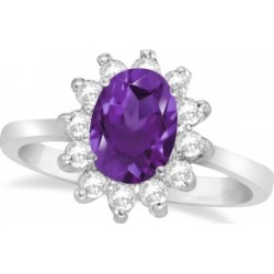Lady Diana Oval Amethyst & Diamond Ring 14k White Gold (1.50 ctw)
