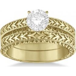 Solitaire Engagement Ring & Wedding Band Bridal Set 14k Yellow Gold