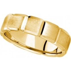 Diamond Carved Wedding Band For Men in 18k Yellow Gold (6mm)