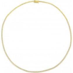 Diamond Tennis Choker Necklace for Women in 14k Yellow Gold (2.00 ctw)
