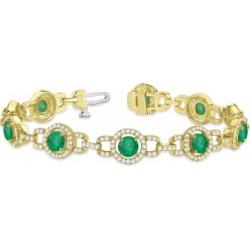 Luxury Halo Emerald & Diamond Link Bracelet 18k Yellow Gold (8.00ct) found on Bargain Bro India from Allurez for $9423.00