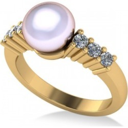 Pearl & Diamond Accented Engagement Ring 14k Yellow Gold 8mm (0.30ct)