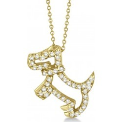 Diamond Dog Pendant Necklace Pave-Set 14K Yellow Gold (0.22ct) found on Bargain Bro India from Allurez for $713.00