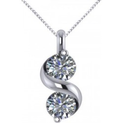 Diamond Swirl Two Stone Pendant Necklace 14k White Gold (1.00ct) found on Bargain Bro India from Allurez for $2646.00