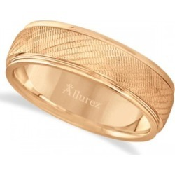 Diamond Cut Wedding Band For Men in 18k Rose Gold (7mm)